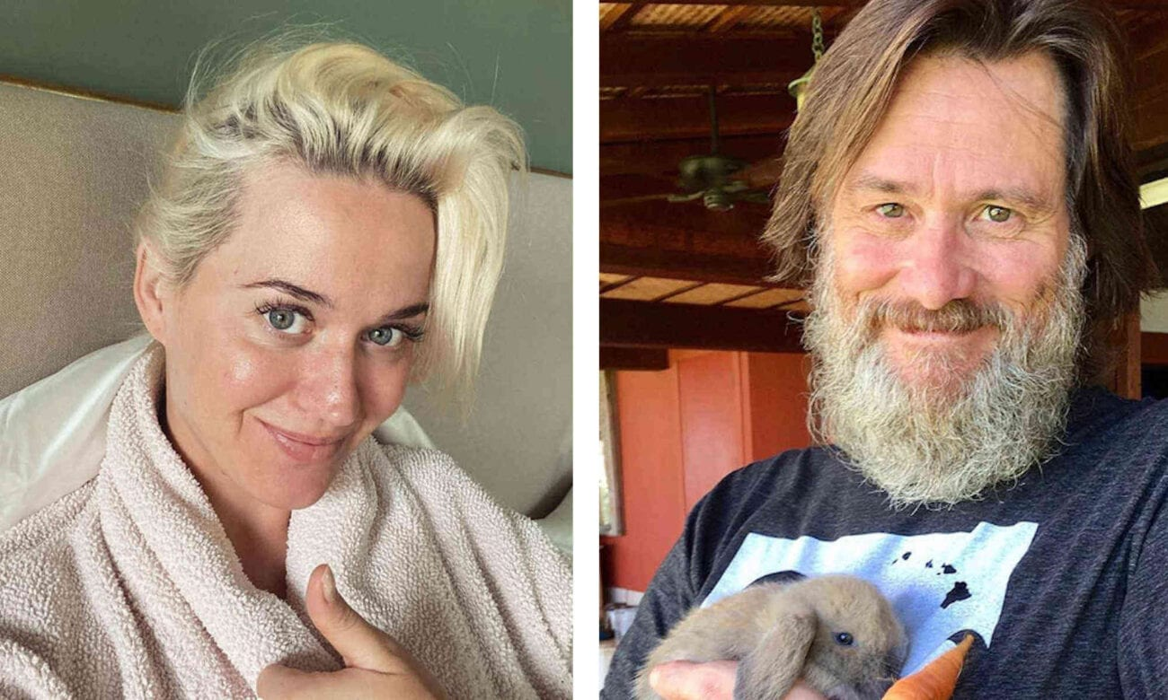 Celebrities are humbling themselves by taking to social media in order to share their greying beards, pimples, and comfy pants during quarantine.