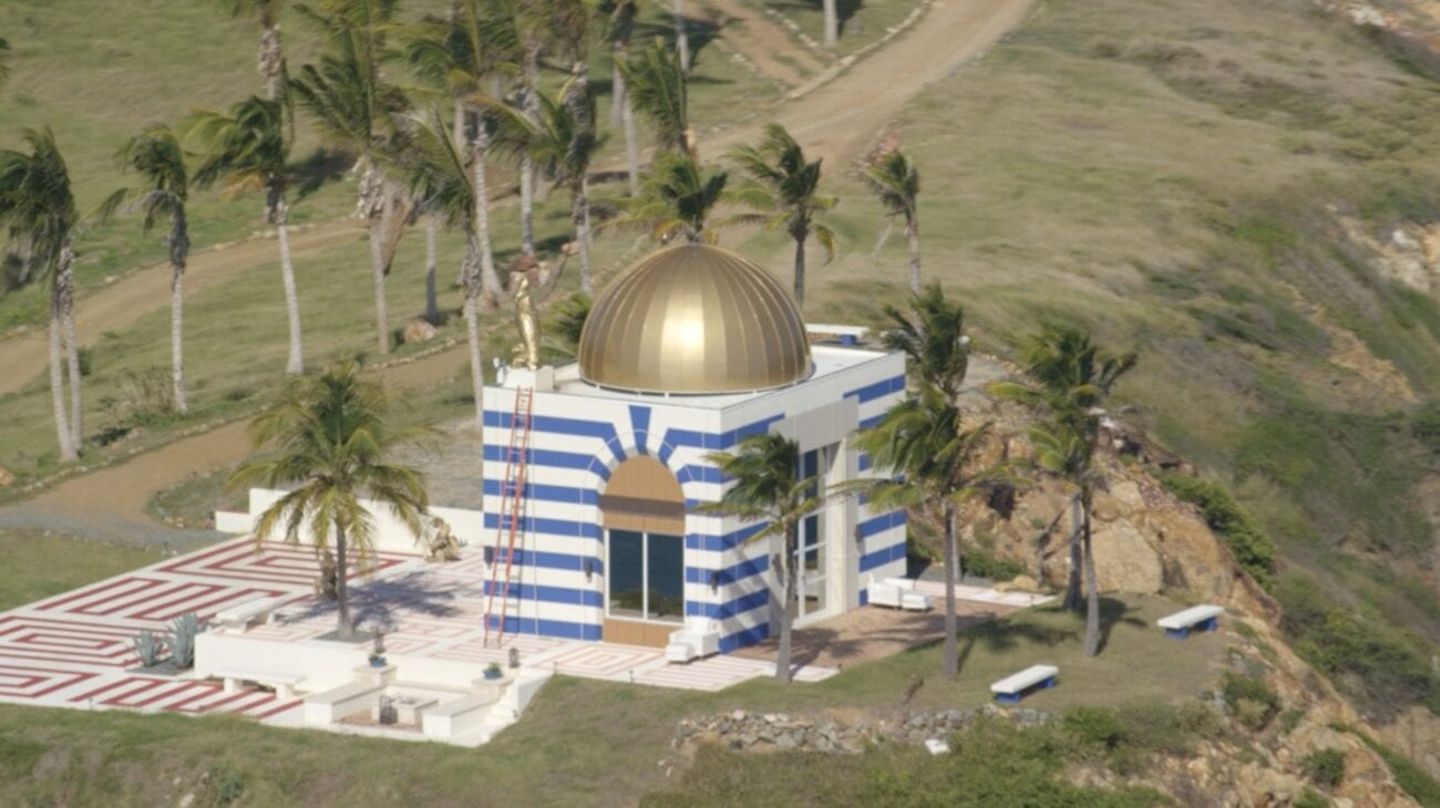 A well known staple of Jeffrey Epstein's pedophilic island is a blue-striped temple. Let's investigate the strange Epstein island temple.