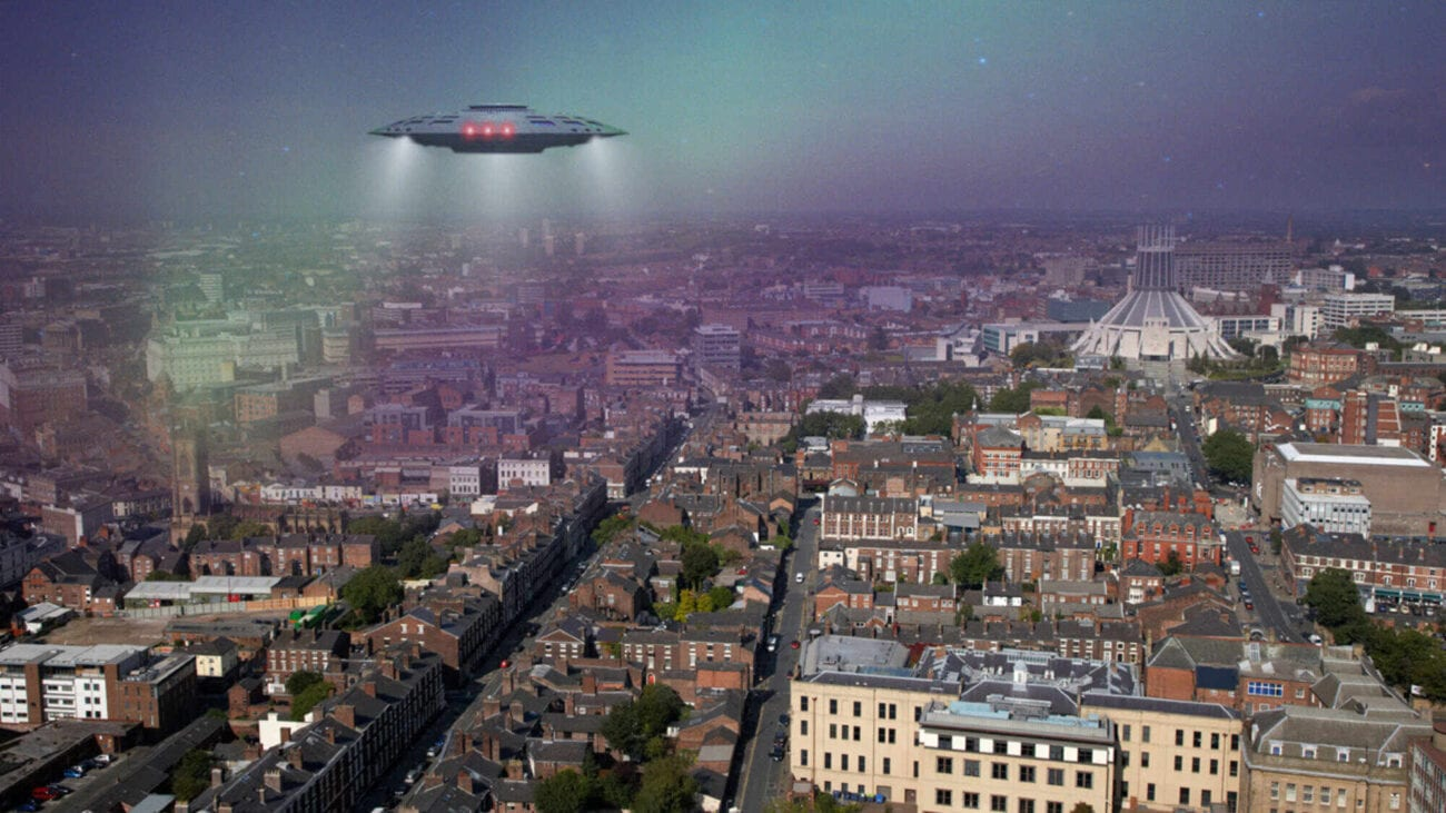 A couple of confused Liverpool residents spotted a noisy glowing flying saucer recently, and they're not sure what to make of it.